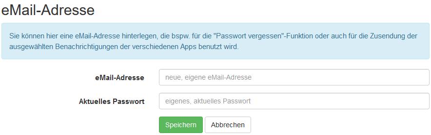 eMail-Adresse und das eigene (neu gesetzte) Passwort eingeben.