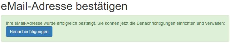 """Fertig. Ab jetzt kann diese eMail-Adresse für die """"Passwort vergessen""""-Funktion benutzt werden."""